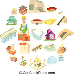 Entity icons set, cartoon style - Entity icons set. Cartoon...