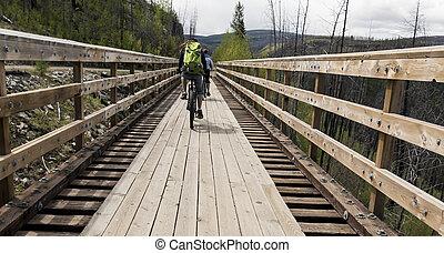 entlang, brücken, gestell, hölzern, radfahren, trans, kanada...