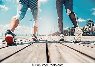 entlang, jogging, junger, seafront, frauen