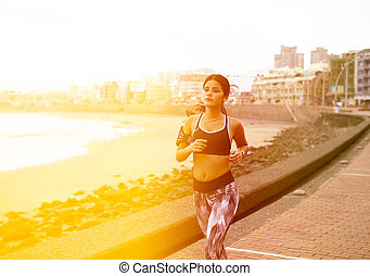entlang, rennender , beachfront, junges mädchen