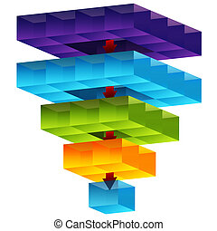 entonnoir, cube, 3d