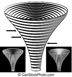 entonnoir, diagramme, halftone