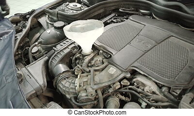 entonnoir, huile, débuts, verser, par, automobile, maître, engine.