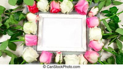 entouré, cadre, roses, photo, vide, 4k