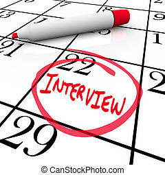 entouré, -, employeur, rencontrer, entrevue, nouveau, calendrier, jour
