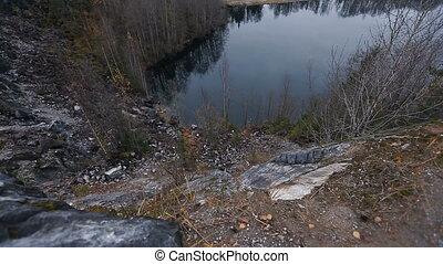 entouré, reflet, émeraude, personne, lac, vue, forêt, water...