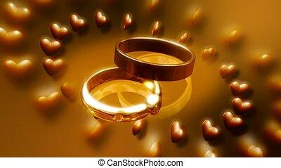 entourer, cercle, cœurs, anneaux, mariage