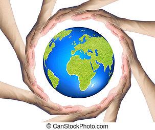entourer, cercle, mains, confection, la terre