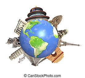 entourer, monuments, planète, célèbre, mondiale, la terre