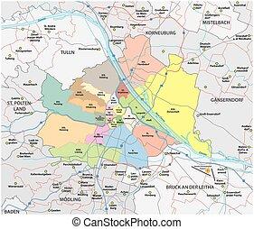 entourer, vienne, administratif, carte, route, sien, communautés, ville, vecteur