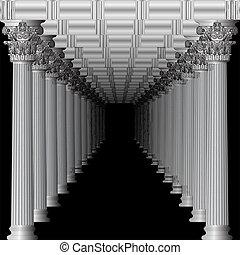 entrée, à, a, grec, temple, dans, perspective, noir
