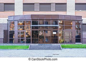 entrée, bâtiment., moderne, bureau, affaires ville