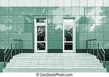 entrée, bureau, bâtiment.