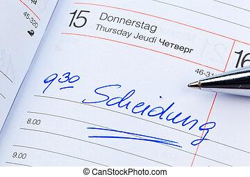 entrée, calendar:, divorce