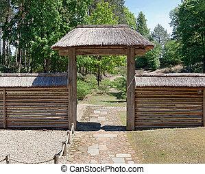 entrée,  Central, barrière, bois, moderne,  village, territoire, européen