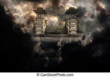 entrée, ciel, spooky, grandiose, enfer, ou