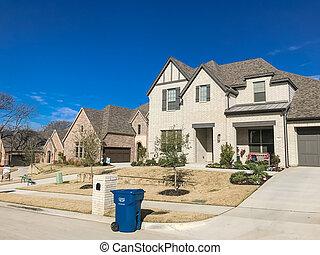 entrée, construit, porche, maison, attaché, 2-story, devant, récemment