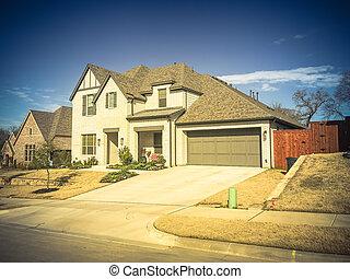 entrée, construit, porche, maison, image, 2-story, devant, filtré, récemment