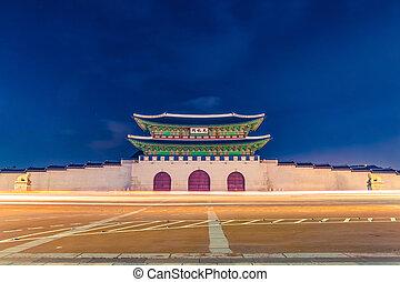 entrée, corée, palais, séoul, -, gyeongbokgung, république, nuit, principal