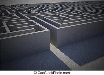 entrée, difficile, puzzle, labyrinthe