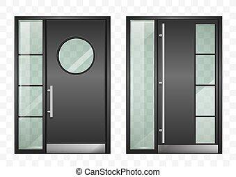 entrée, ensemble, moderne, portes