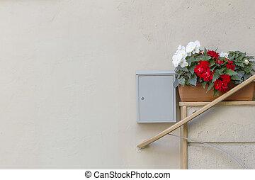 entrée, fleur, fragment, maison, postbox, pots, mur