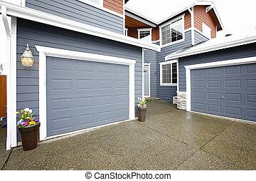 entrée, gris, maison, histoire, deux, grand, principal, exterior.