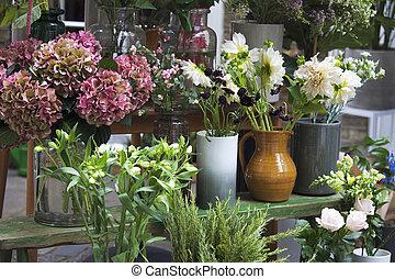 entrée, hortensia, vente, grand, rouges, bouquets, magasin