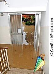 entrée, inondé, pleinement, maison, pendant, rivière, inondation