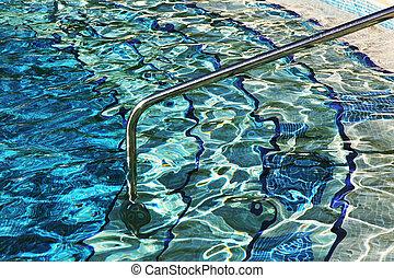 entrée, ladder., piscine, natation