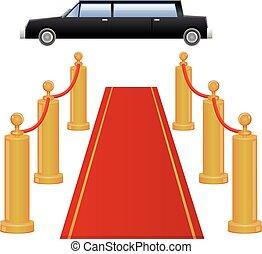 entrée, limousine, moquette rouge