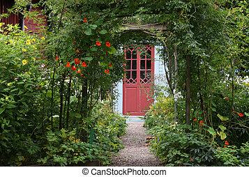 entrée, magie, jardin