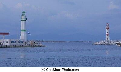 entrée, port, evening., partir, lighths, rouge vert, marina, bateau, 4k