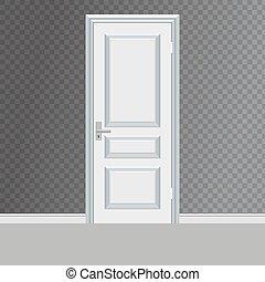 entrée, porte, illustration, vecteur, fermé, blanc