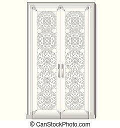 entrée, porte, illustration., vecteur, verre., ornementation, exquis