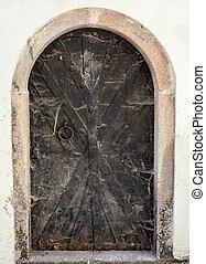 entrée, porte, moyen-âge, cobwebbed