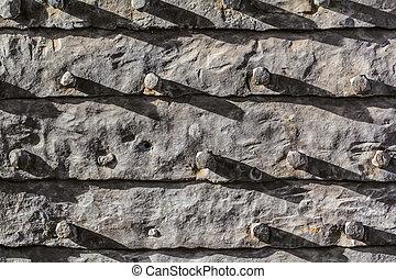 entrée, porte, moyen-âge, détail, métal, malléable, blindé, fer, feuilles, portail, horizontal, fixe, forteresse, nails.