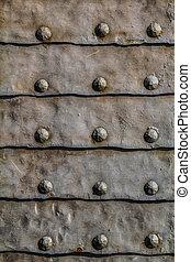 entrée, porte, moyen-âge, détail, soutenu, métal, malléable, blindé, fer, feuilles, portail, horizontal, forteresse, nails.