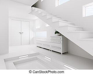 entrée, render, intérieur, blanc, salle, 3d