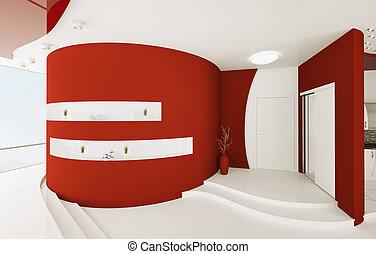 entrée, render, intérieur, blanc, salle, rouges, 3d