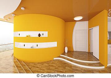 entrée, render, moderne, conception, intérieur, salle, 3d