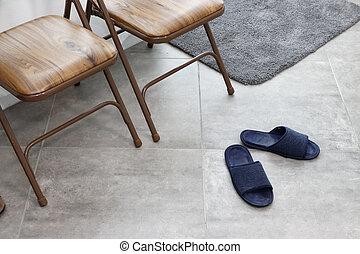 entrée, secteur, dans, a, bureau maison, à, deux, chaises