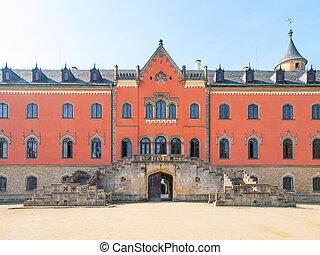 entrée, sychrov, république tchèque, portail, château