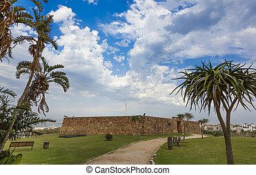 entrée, vieux, murs pierre, portes, fort