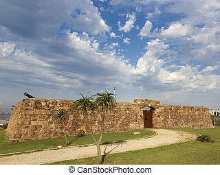 entrée, vieux, pierre, murs, portes,  fort