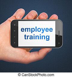 entraînement employé, smartphone, education, concept: