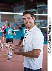 entraîneur, écriture, volley-ball, sourire, presse-papiers, tribunal