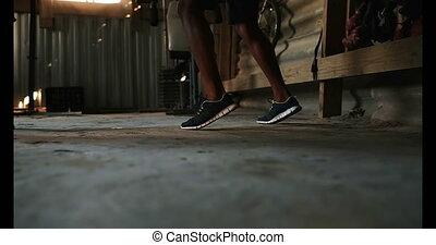 entraîneur, africaine, pied, pratiquer, gymnase, mâle,...