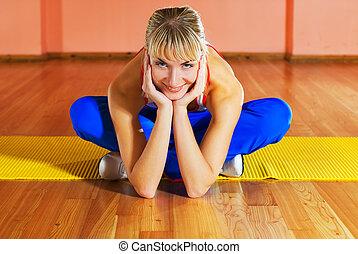 entraîneur, après, délassant, exercice, fitness