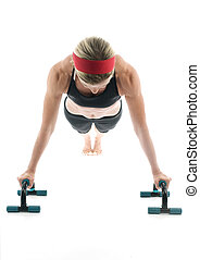 entraîneur, barres, âge, poussez, exercisme, milieu, séduisant, femme, fitness, devant, augmente, vue